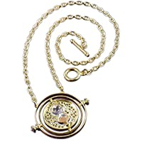 Harry Potter Hermione Time Turner Hourglass Golden Pendant Necklace