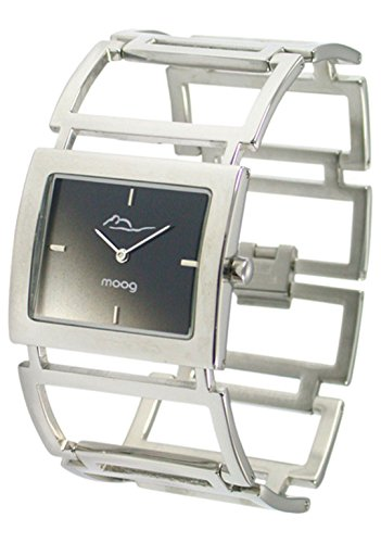 Moog Paris Aérienne Women's Watch with Black Dial, Silver Strap in Stainless Steel - M46024F-005