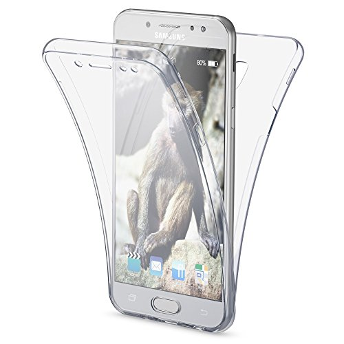 Samsung Galaxy J3 2017 (EU-Modell) Hülle 360 Grad Handyhülle von NALIA, Full Cover vorne & hinten Rundum Doppel-Schutz, Dünnes Ganzkörper Case Silikon, Transparent mit Displayschutz, Farbe:Transparent