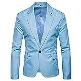 Kanpola Herren Jacke Herbst Winter Strickjacke Casual Pocket Button Langarm Mantel Freizeit Blazer Outwear(Hellblau, 46)