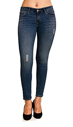 Estrolo Ripped & Embellished Ankle Length Skinny Fit Women's Jeans