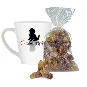 Cœur Motif Cairn terrier 12 Petite tasse avec 200 g sac bulles de Cola Bottles.