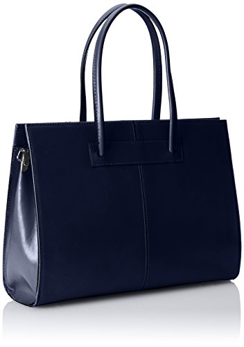 Borsa cartella donna a mano, porta documenti, Vera Pelle 100% Made in Italy Blu