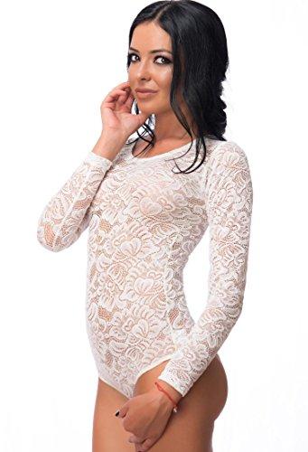 Evoni Spitzen-Body in Creme| Größe XL | Damen Langarm-Stringbody mit Rundhals | transparenter Unterzieh-Body | hochwertige Damen Dessous | florale Spitze | Verschluss-Haken | Unterzieh-Body (Floral Langarm Body)