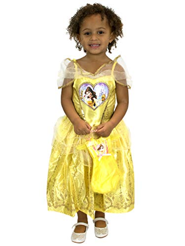 Disney Mädchen Die Schöne und Das Biest Belle Kostüm Kleid und Tasche Gelb ()