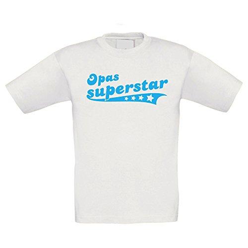 Kinder T-Shirt - Opas Superstar - von Shirt DEPARTMENT, 134-146, Weiss-Cyan (T-shirt Stolz Juniors)