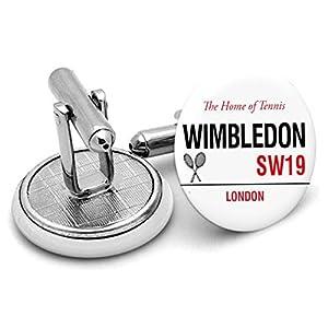 Auf Bestellung handgefertigt Wimbledon Road Sign Herren Manschettenknöpfe–in Geschenkbeutel