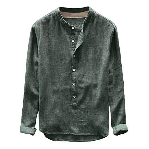 ZEZKT Herren-Hemden Stehkragen Langarm-Hemd, Langarm-Shirts für Männer, Mode Herren Top Frühling Herbst Button Casual T-Shirts Leinen und Baumwolle Langarm Bluse L-4XL -