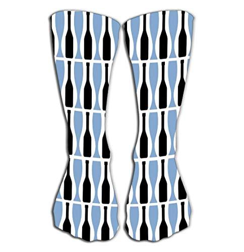 ouyjian Outdoor-Sport Männer Frauen hohe Socken Strumpf abstrakte Schwarze Flaschen Blaue Brille Nahtlose Muster Dekor
