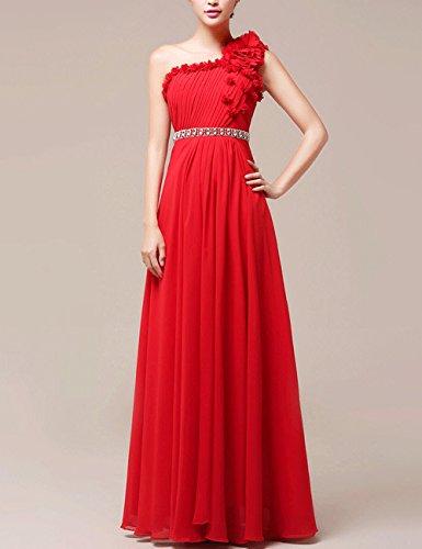 Lactraum LF4101 Brautjungfernkleid Ballkleid Abendkleid Abschlussball  Kleider Hochzeitskleider Abiballkleid OneShoulder Rot