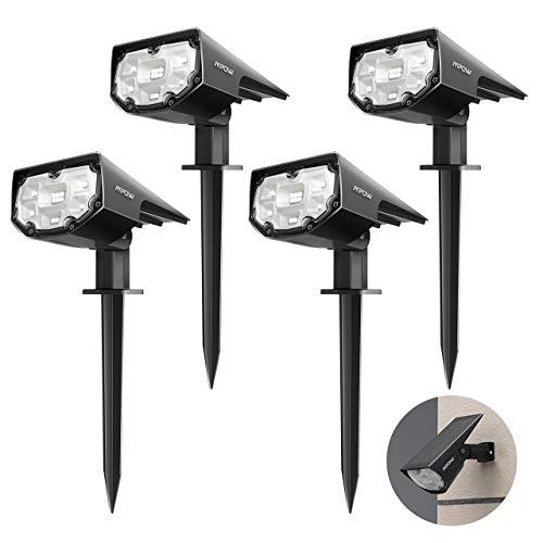 【4 Pack 12 LED】 Mpow Spot Solaire Extérieur, Lampes Solaires Etanche IP67 Projecteur Solaire Réglable avec Panneau Solaire 180° Eclairage Extérieur Solaire pour Jardin, Extérieur, Chemin, Allée