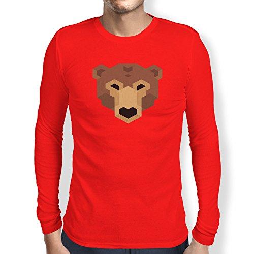TEXLAB - Simple Bear - Herren Langarm T-Shirt Rot
