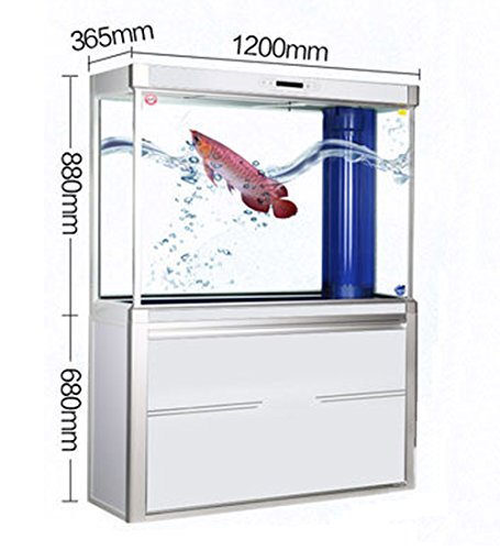 Jiangu - acuario grande, tanque de filtro de peces, pecera de salón aerodinámico, pecera de cristal ecológico