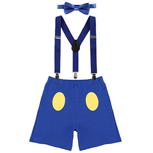 IWEMEK Baby 1. / 2./ 3. Geburtstag Kostüm Jungen Mädchen Donald Duck Karneval Cospaly Outfit Hosenträger Hosen mit Fliege Stirnband 3pcs / 4pcs Bekleidungssets Fotoshooting Cartoon 11 12-18 ()