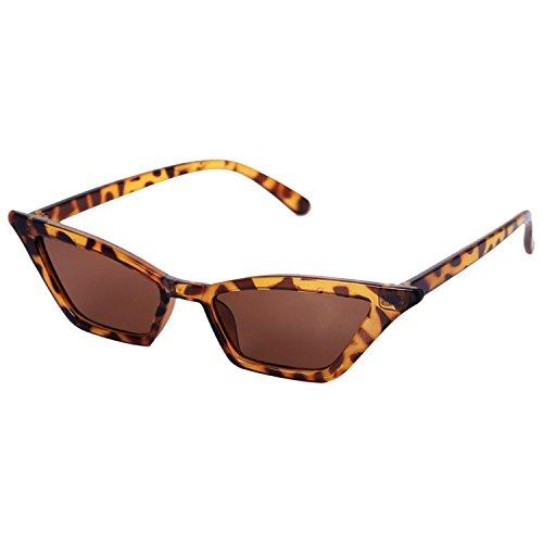 TOOGOO Vintage Occhiali da sole Donne Occhio di gatto Lusso Sole Bicchieri Retro Piccolo le signore Occhiali da sole Nero Occhiali S17077 leopardo
