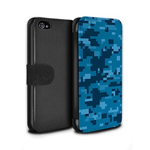 Stuff4® PU-Leder Hülle/Case/Tasche/Cover für Apple iPhone 4/4S / Blau Digital Urban Muster/Militär Camouflage Tarnung Kollektion