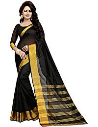 BuyOnn Women's Cotton Silk Solid Saree With Blouse Piece Pink And Green_Free Size