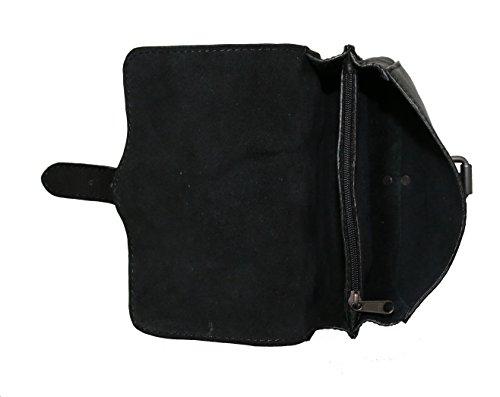 Leder Tasche Gürteltasche Männer Damen Ledertasche schwarz klein black 3155