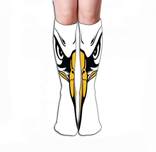 Men Women Outdoor Sports High Socks Stocking Eagle face Eyes Beak Eagles Close up Would be Great Used School Mascots Paintings Tile Length 19.7