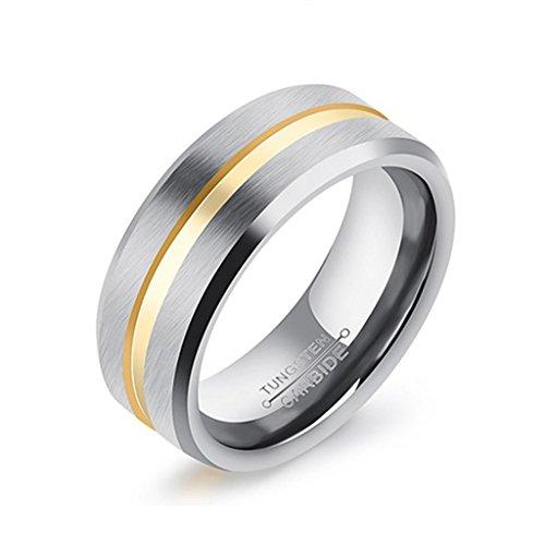 Bishilin 8MM Wolframcarbid Ring Carbide Herren's Hochzeitsring Freundschaftsringe Komfortabel Matte Fertig Größe 67 (Jährige 8 Kostüm Für Elefanten)