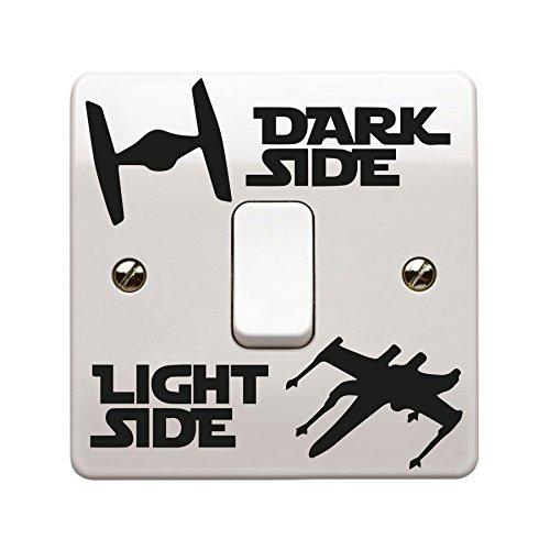 Star Wars Themen Tie Fighter und - X-flügel Dunkel /Licht Seite Vinyl Sticker Aufkleber Kinder Zimmer Lightswitch Wand