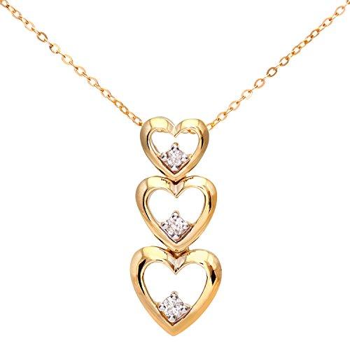 Naava-Damen-Anhnger-9k-Dreifach-Herz-Tropfen-46-cm-Kette-375-Gelbgold-teilrhodiniert-Diamant-006-ct-wei-Rundschliff-PP03059Y