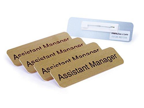 meluba Buttons   Assistant Manager Badge-Brushed Gold Aluminium mit Pin Armatur-70x 20[5Stück]