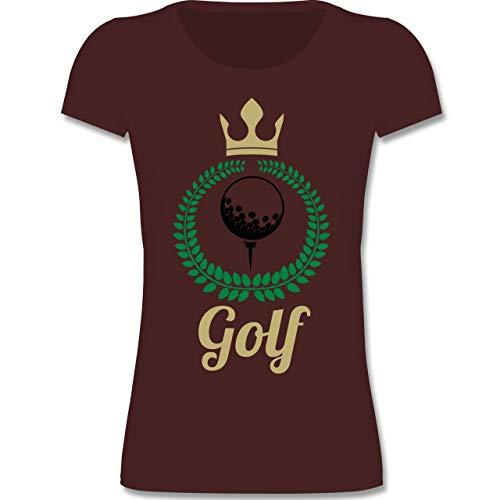 Sport Kind - Lorbeerkanz Krone Golf - 122-128 (7-8 Jahre) - Burgund - F288K - Mädchen T-Shirt