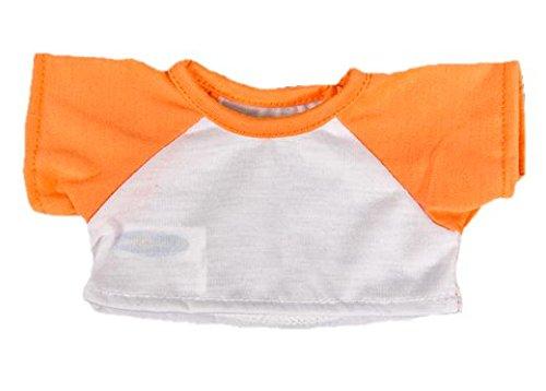 ißes T-Stück w / orange Sleeves Outfit Teddy Bear Kleidung Fit 14