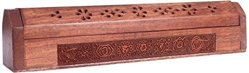 Support a encens et boite de rangement en bois grave 30x5,5cm 7 chakras
