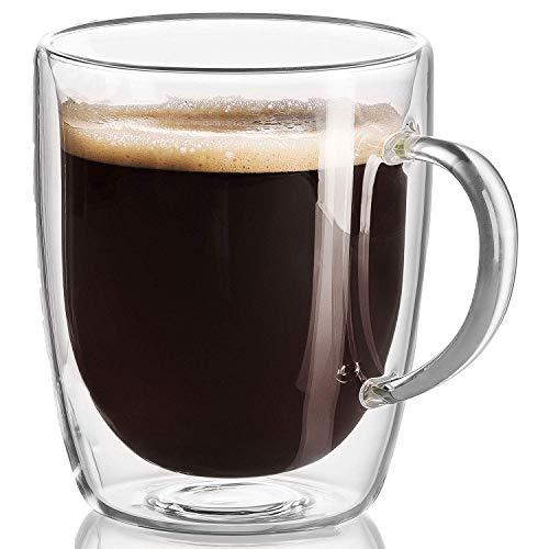 Tazza in vetro con doppio isolamento e manico a cintura trasparente, perfetta per latte, caffè, bevande, tè, capacità 350 ml.