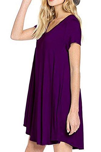 Damen V-Ausschnitt Kurze Ärmel Locker Mini Sommer Strand Kleid Purple