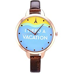 JSDDE Women's Slim Brown Leather Band Rose Gold Case Wrist Watch Casual Vacation