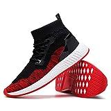 2018 ins Gleiche Rot Sportschuhe Rosennie Mode Männer Hohe Hilfe Weiche Sohle Laufschuhe Turnschuhe Socken Schuhe Herren Fitness Mesh Air Leichte Schuhe Neutral Jungen Basketballschuhe (43, Rot)
