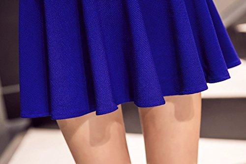 Kemousen Damen Röcke A-Linie Vielseitige Dehnbaren Basic Solid Freizeit Mini Skater Rock Blau