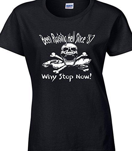 30th Geburtstag Psychobilly Rock Punk Inspiriert Damen T-Shirt 'Wurde Raising Hölle Since 1987- Wieso Stop Jetzt!' - Großartiges Geburtstags Geschenk Schwarz