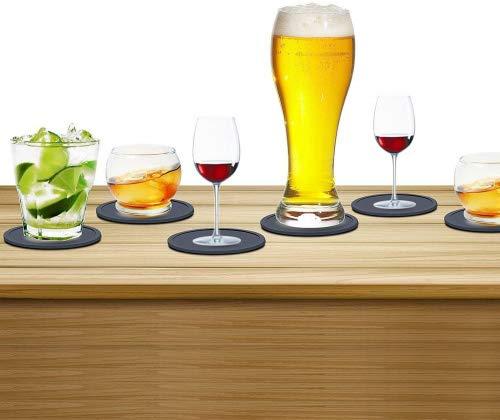 ZeWoo Silikon-Untersetzer - 8 Stück Glasuntersetzer-Set Onderzetters für Bar, Wohnzimmer, Küche (Schwarz)