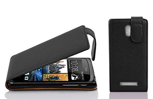 Cadorabo Hülle für HTC Desire 500 Hülle in Handyhülle aus Strukturiertem Kunstleder im Flip Design Case Cover Schutzhülle Etui Tasche Oxid Schwarz