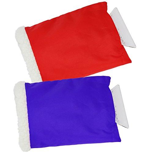 com-four® 2X Eiskratzer aus Kunststoff mit gefüttertem Handschuh in Verschiedenen Farben (02 Stück - mit Handschuh)