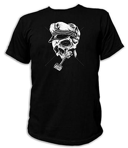 Artdiktat Herren T-Shirt - SKULL WITH CAPTAINS HAT & PIPE Größe S, schwarz