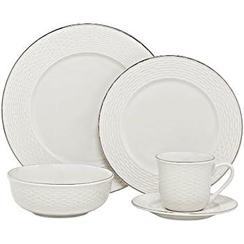 Melange Nantucket Weave Service de table de 40 pièces de qualité en porcelaine pour 8 personnes Platine