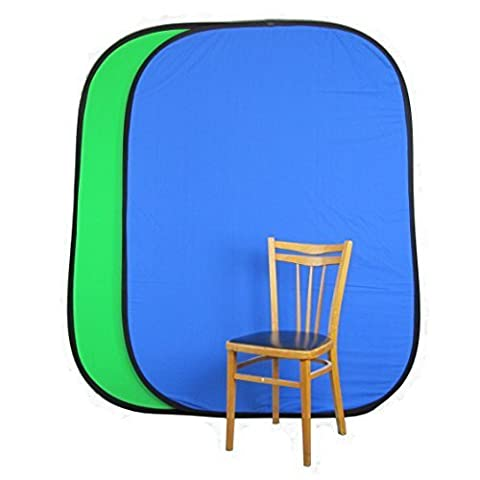 PhotoGeeks 2m x 1.5m Green & Blue Chroma Key Popup Reversible Backdrop - 100% Muslin Cotton Collapsible Photography Background
