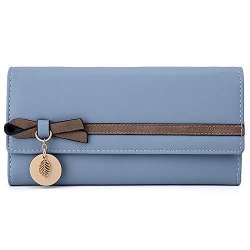 Portefeuille Femme UTO Porte-Monnaie Cuir Synthétique Grande Capacité Noeud Feuille Exquis Bien Organisation Bleu