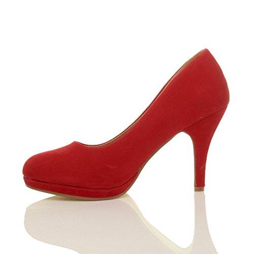 Donna tacco alto medio lavoro sera festa semplice décolleté scarpe taglia Scamosciata rosso