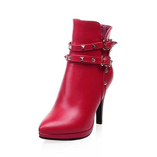 High Heels spitz Toe Pumps Stiefel, Frühling und Herbst Winter Damenschuhe , red , 38 Korallen-heels Und Pumps