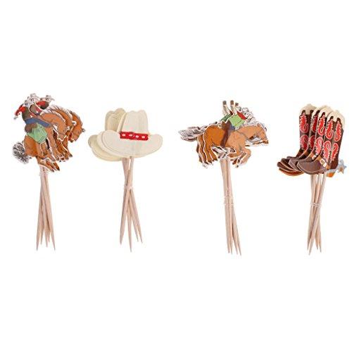 Baoblaze Kuchen Cake Cupcake Topper, 24Stücke Niedlich Dekorationen für Hochzeit Brautdusche und Geburtstagsfeier - Cowboy, 24 Stück