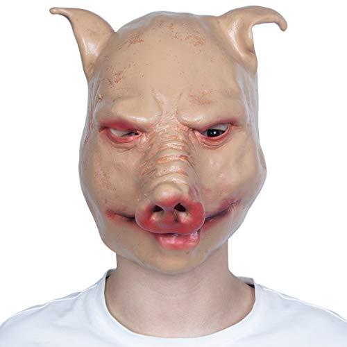 YKQ WS Halloween Latex Tier Schwein Maske Horror Scary Karneval Party Dress Up Bühnenshow für Männer und Frauen