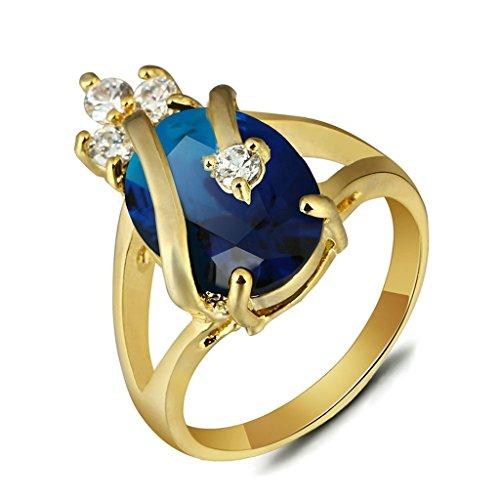 Bishilling Schmuck Damen Ring Vergoldet Krone Wassertropfen Kristall Zirkonia Damenring Verlobungsring Ehering Hochzeit Ringe Gold Blau Ringgröße 60 (Kostüme Arabischen Blau Prinzessin)