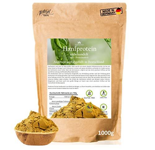 Hanfprotein aus Deutschland 1kg – Hanfsamen-pulver veganes, pflanzliches Proteinpulver roh für dein Müsli und Smoothie, vegan, glutenfrei