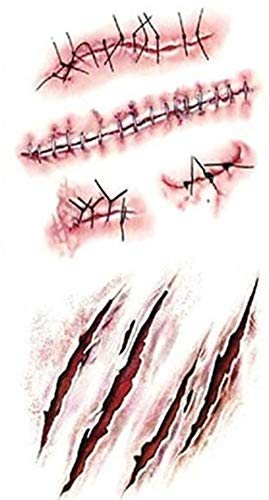 attoo Halloween Horror Wunde Realistische Blut Narbe Narbe Muster Aufkleber 10 Tattoo Set ()